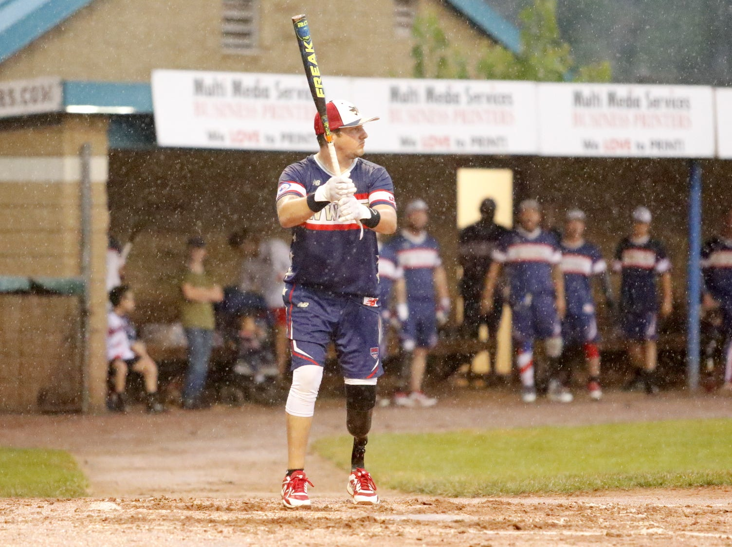 Brent Nadjadi of Bath steps to the plate for the Wounded Warrior Amputee Softball Team against the Elmira Pioneers on July 21, 2018. WWAST was an 11-5 winner in the seven-inning softball game.