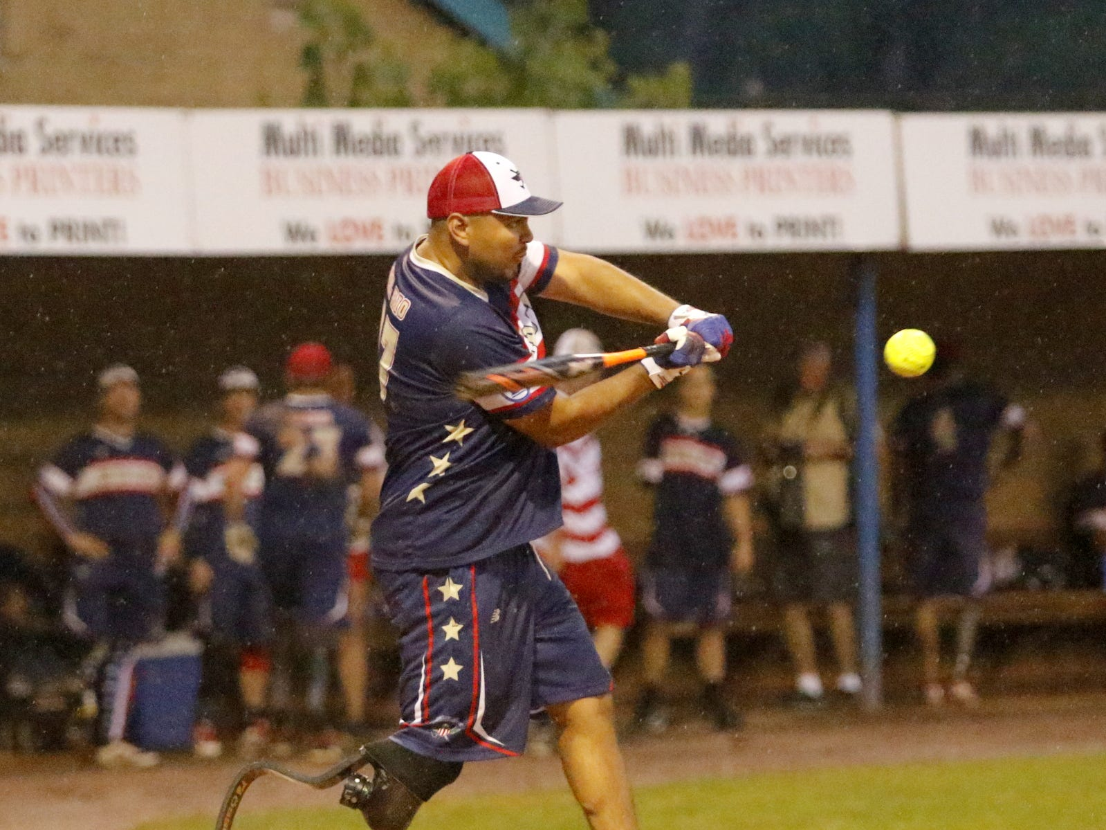 The Elmira Pioneers hosted the Wounded Warrior Amputee Softball Team on July 21, 2018 at Dunn Field. The Wounded Warrior team was an 11-5 winner in the seven-inning game, which was played in a steady rain.