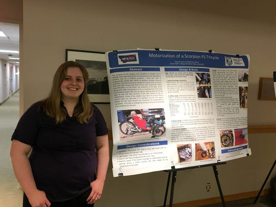 Great Falls College MSU student Ilaya Payne presents her research at the Student Research Celebration in Bozeman in April.