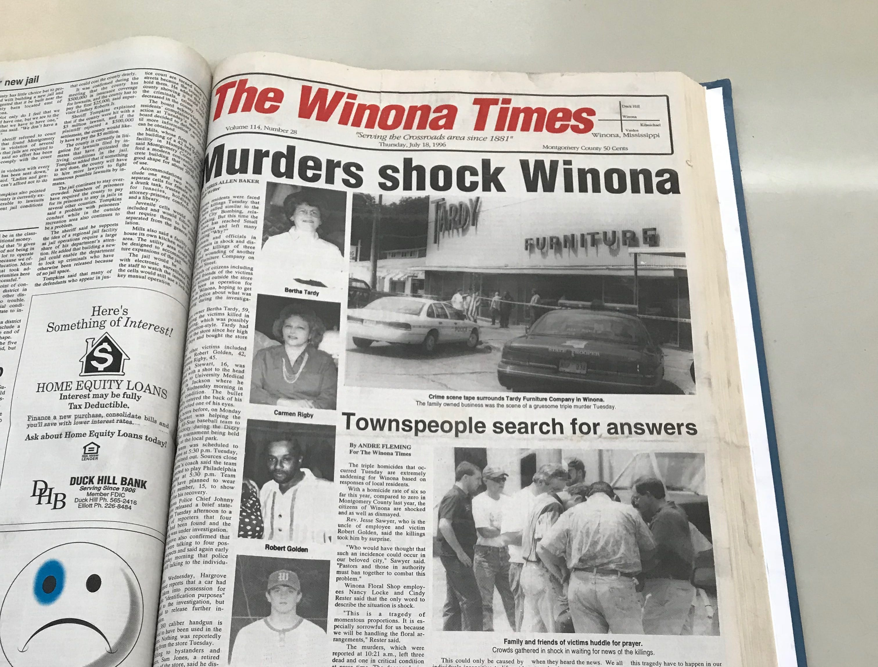 "The Montgomery County chancery clerk's office holds records of local periodical The Winona Times. The town of Winona was shaken by the 1996 quadruple execution style murders at Tardy Furniture in July 1996, as seen in this page from the newspaper photograph on July 19, 2018. Winona local Curtis Flowers was tried six times for the deaths of Robert Golden, Carmen Rigby,  Bertha Tardy and Derrick ""Bobo"" Stewart."