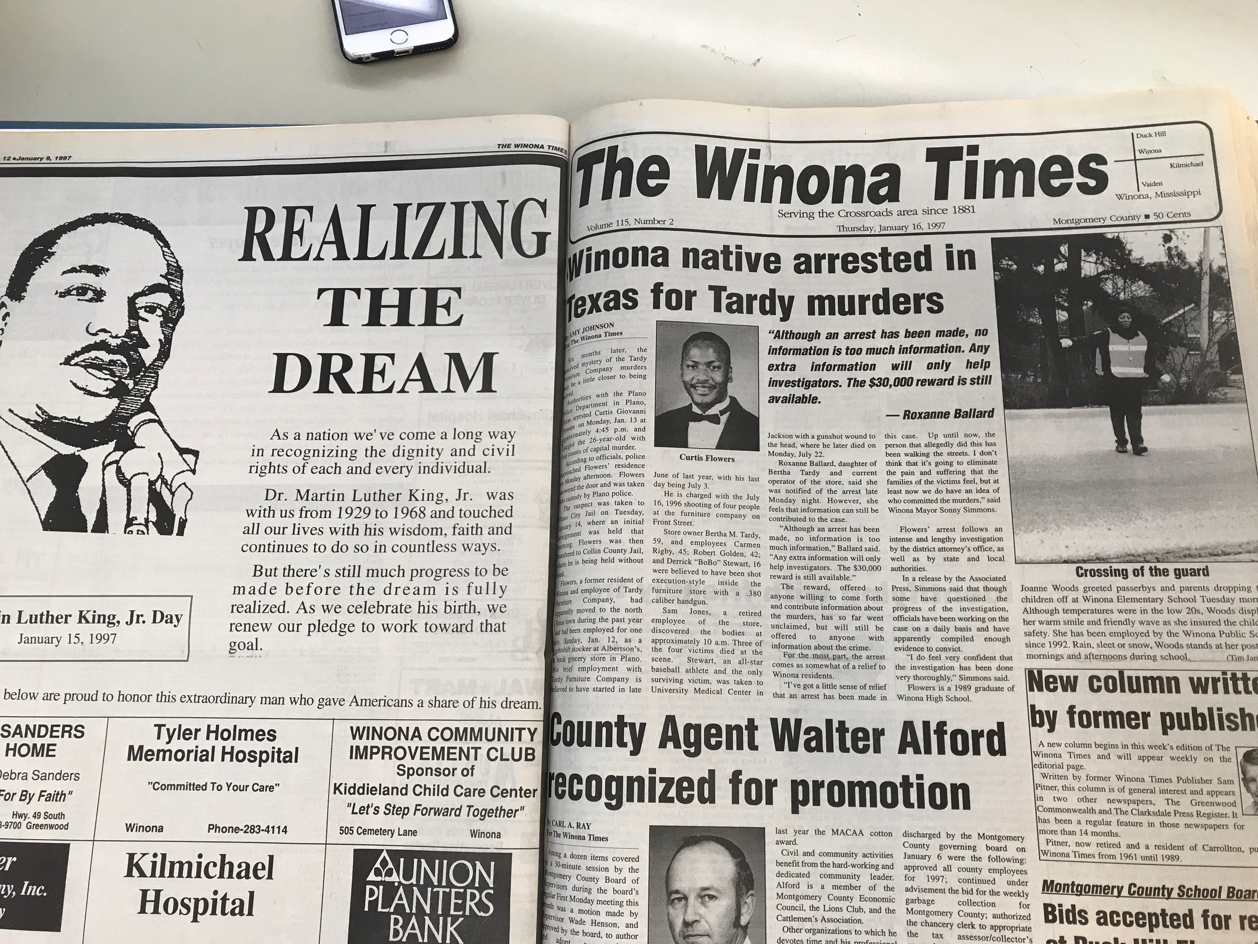 "The Montgomery County chancery clerk's office holds records of local periodical The Winona Times. A page from that newspaper, photographed on July 19, 2018, chronicles the arrest of Curtis Flowers, who was tried six times for the July 1996 quadruple murder at Tardy Furniture of Robert Golden, Carmen Rigby,  Bertha Tardy and Derrick ""Bobo"" Stewart. Thursday, July 19, 2018."
