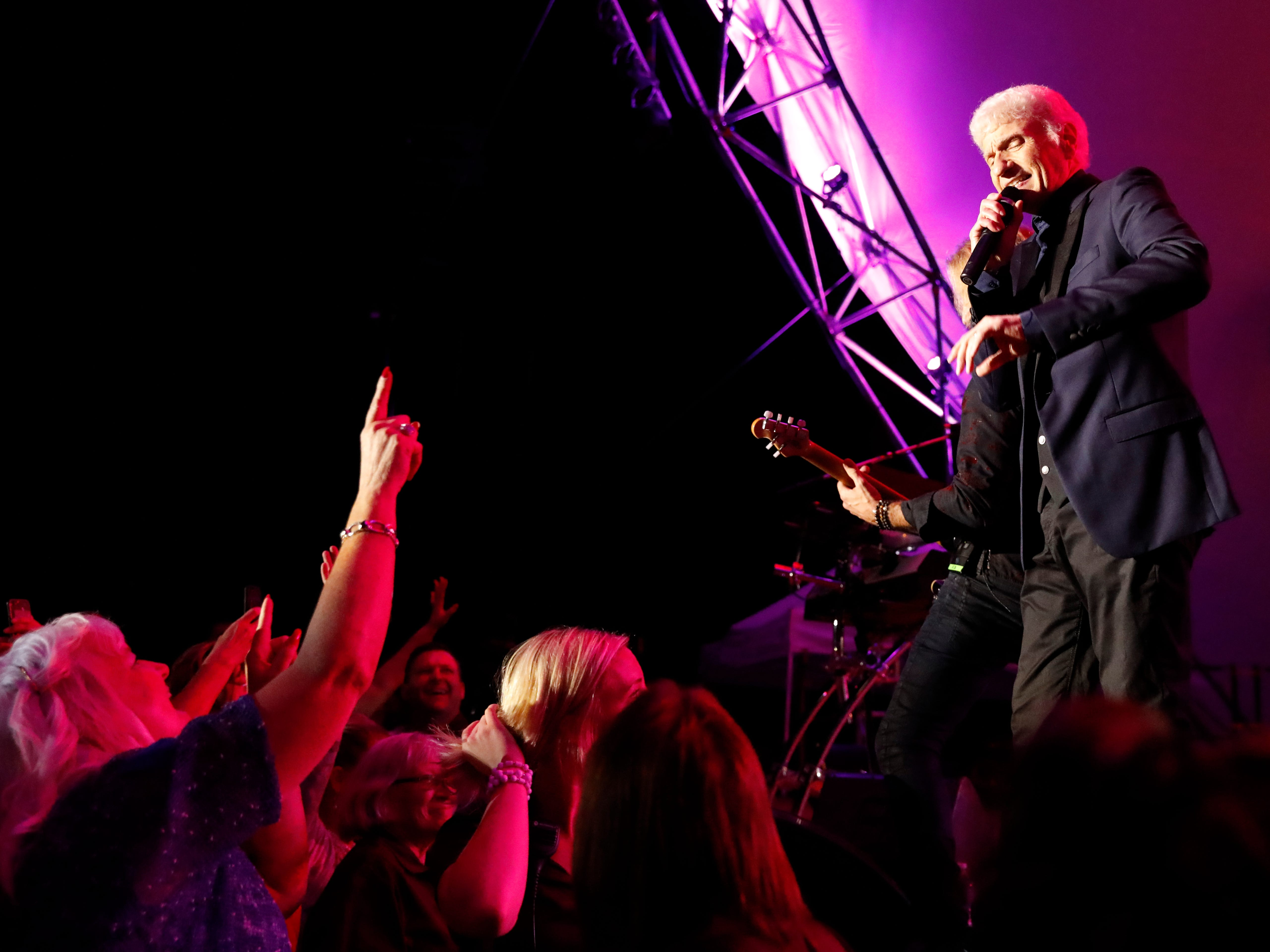 Dennis DeYoung sings during a concert Saturday night, July 21, 2018, at the Ohio University Wendel Concert Stage in Lancaster.