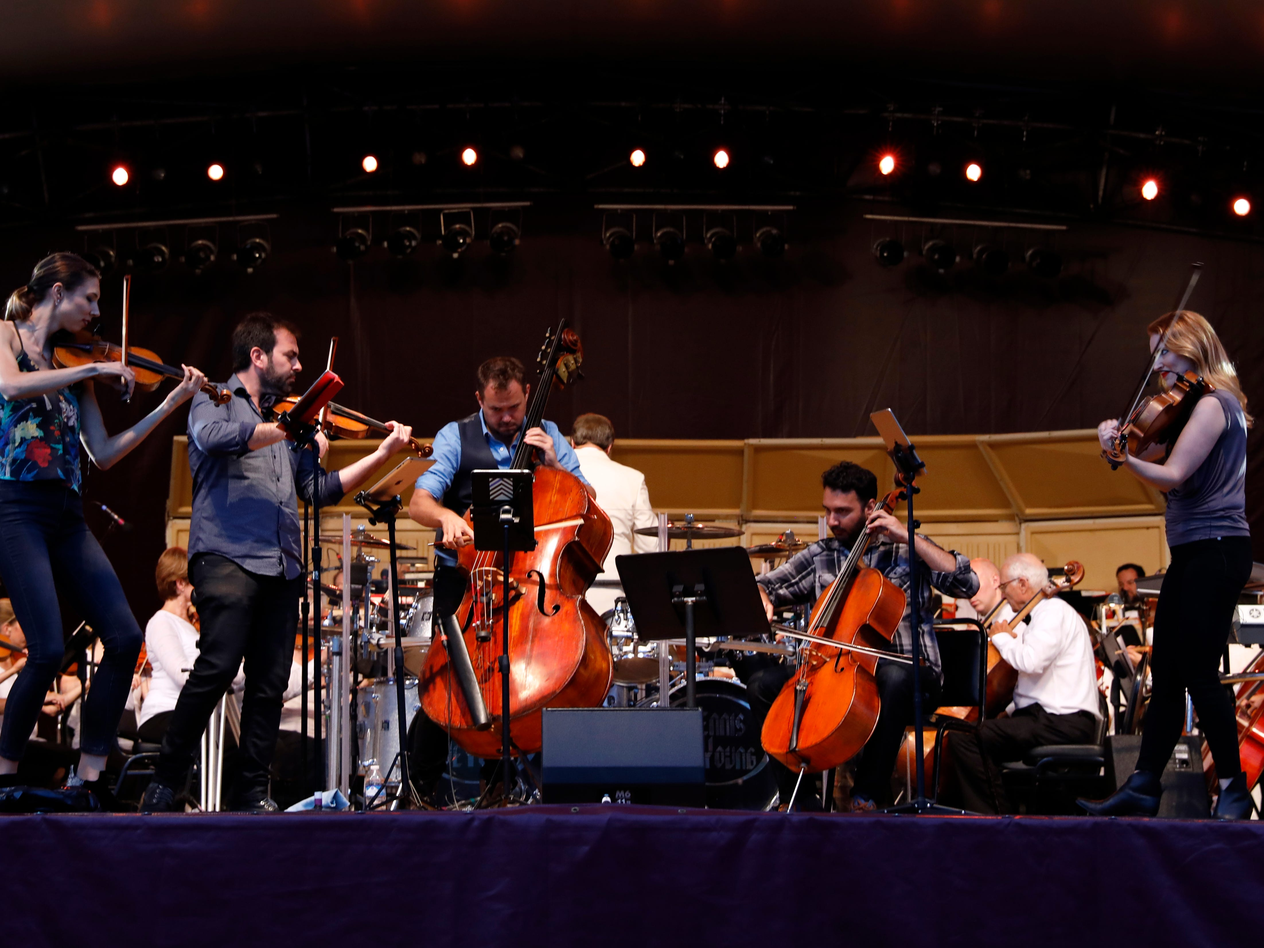 Sybarite5 performs with the Lancaster Festival Orchestra Saturday night, July 21, 2018, at the Ohio University Lancaster Wendel Concert Stage in Lancaster.