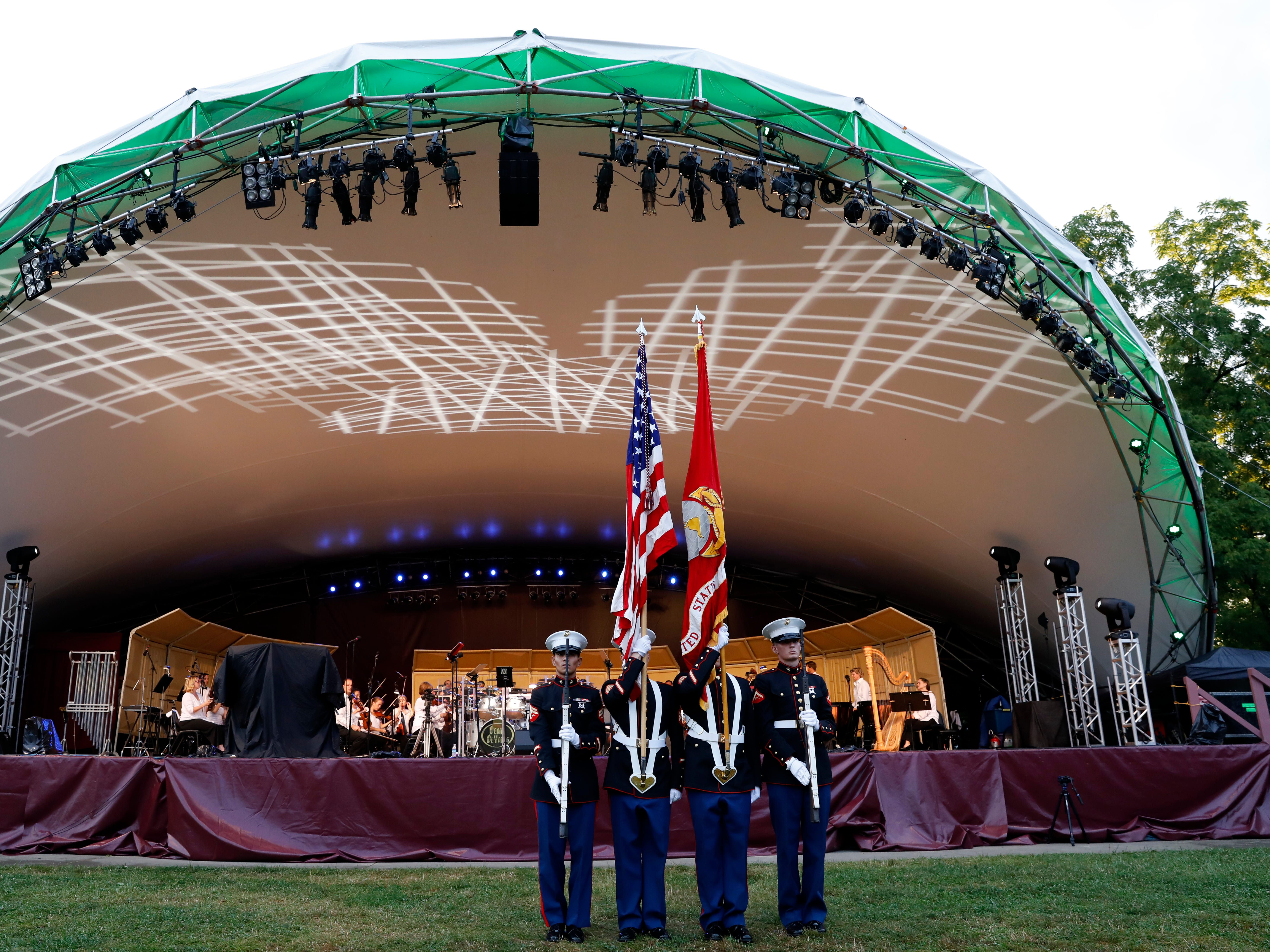 Members of Lima Company stand in front of the concert stage Saturday, July 21, 2018, at Ohio University Lancaster.