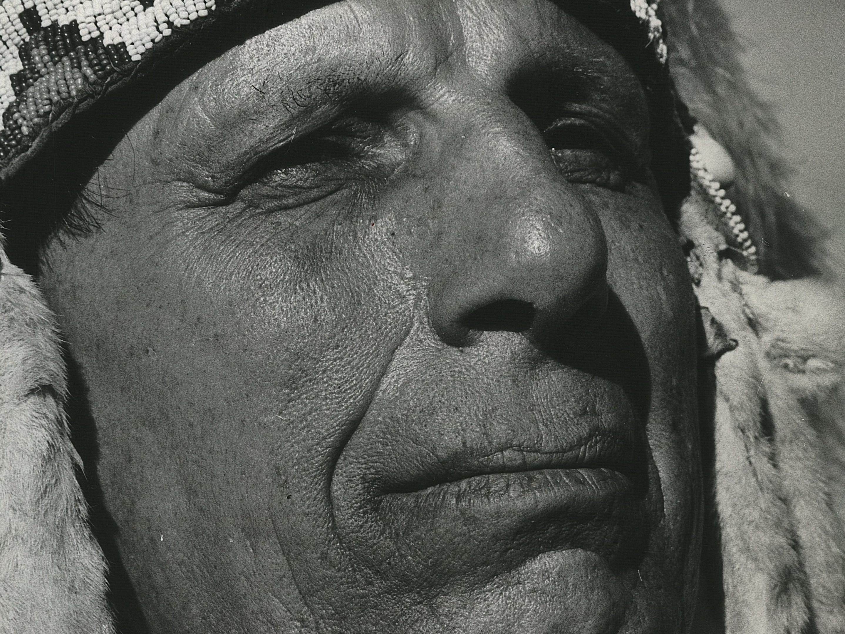 Iron Eyes Cody arrives in Milwaukee by train, in full Cherokee regalia, on July 10, 1968. Cody, a longtime advocate for American Indian rights and better representation of Native Americans onscreen, was the master of ceremonies  for a Consolidated Tribes Pow-wow at Croatian Park, part of the first Summerfest. This photo was published in the July 11, 1968, Milwaukee Sentinel.