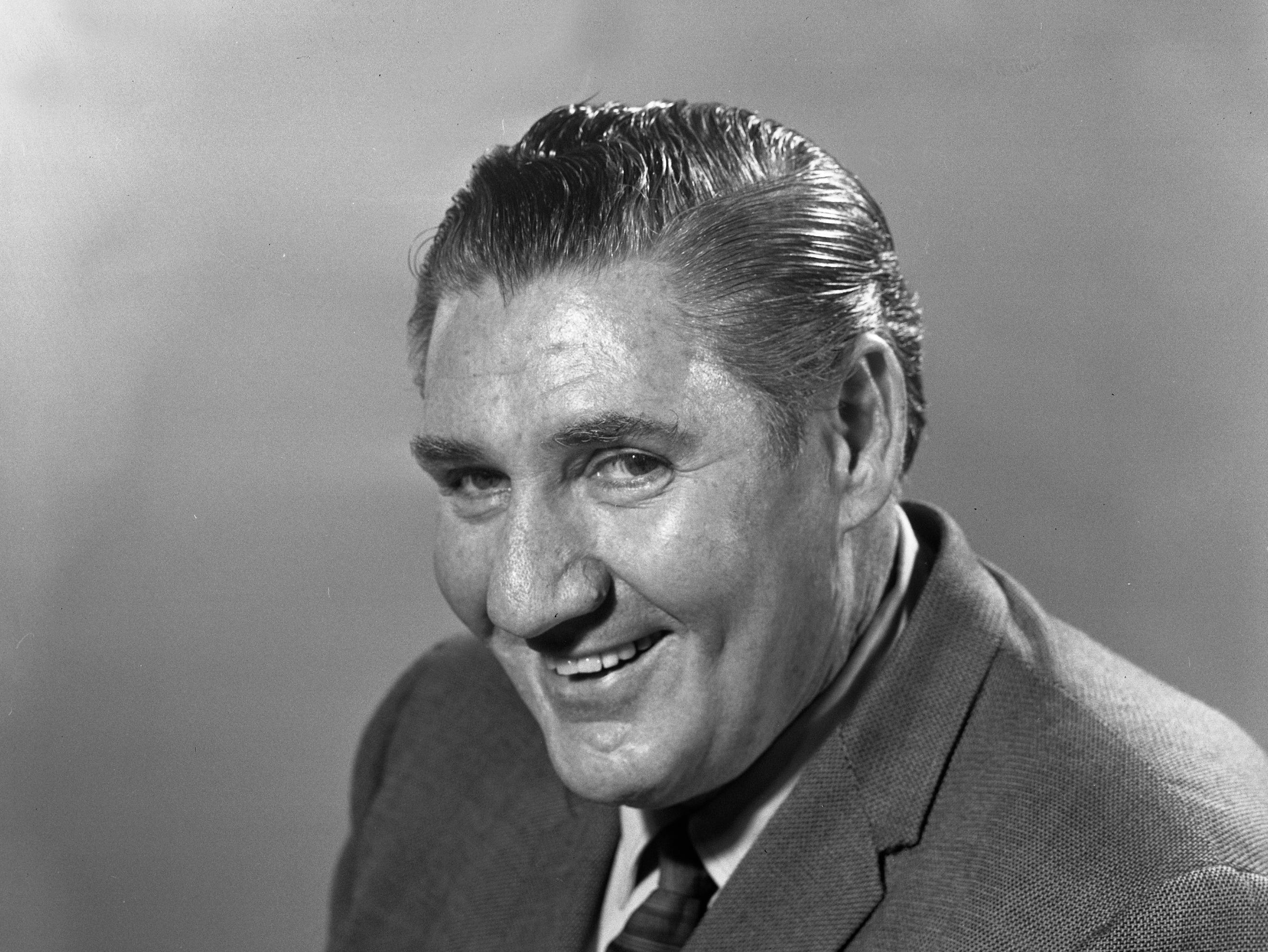"Character actor Pat Buttram, best known for his role as Mr. Haney on TV's ""Green Acres,"" sits for a portrait in the Journal Co. studio during the summer of 1968. Buttram was in town for a speaking engagement. This photo was published in the July 3, 1968, Milwaukee Journal's Green Sheet."