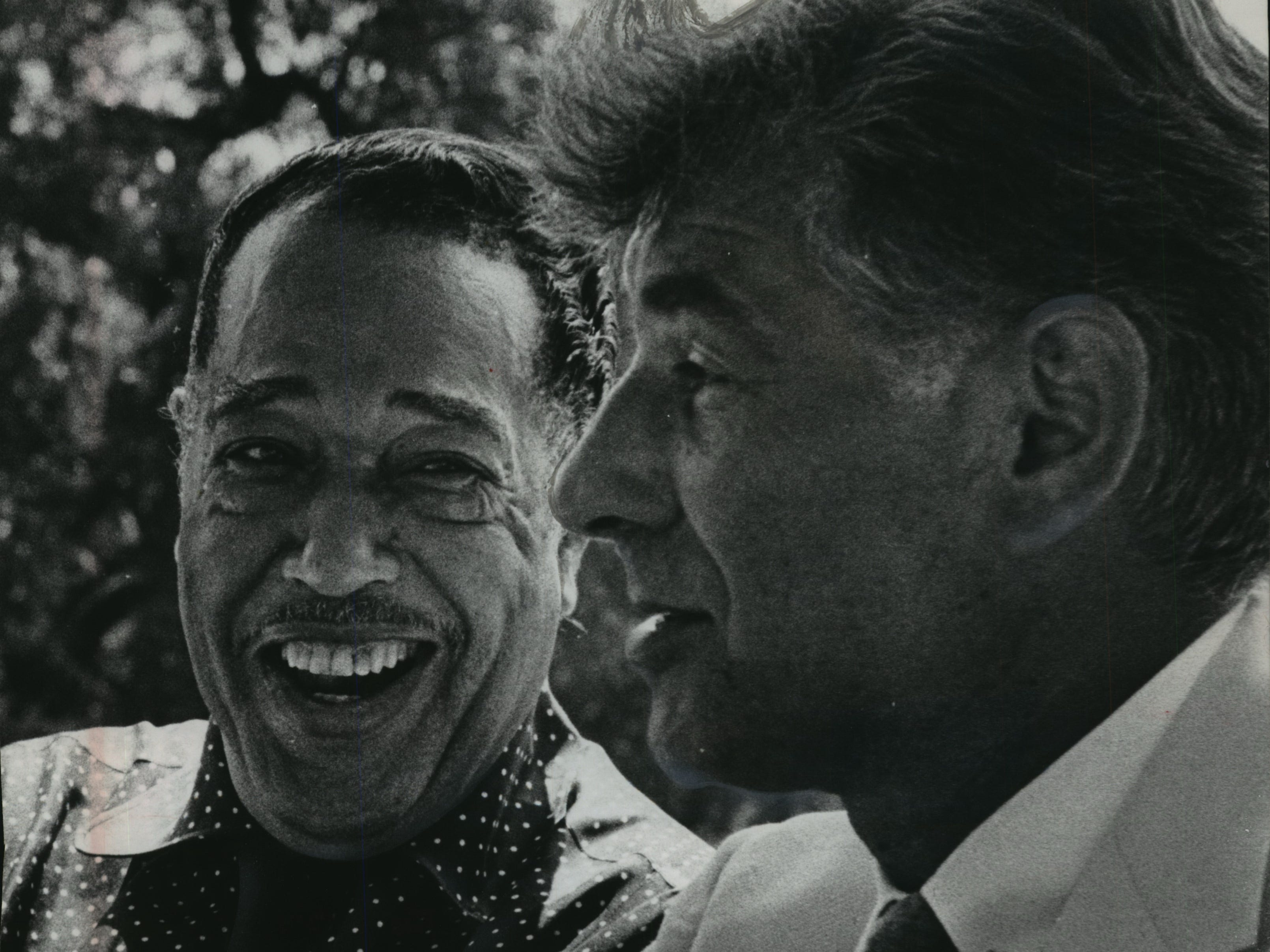 Duke Ellington and Leonard Bernstein meet at the River Hills estate of Robert A. Uihlein, president of Jos. Schlitz Brewing Co., on July 2, 1966. The music legends crossed paths because they were performing concerts, one day after the other, as part of the city's Old Milwaukee Days celebration, a summer festival sponsored by Schlitz. It reportedly was the first time the two men had met. This photo was published in the July 3, 1966, Milwaukee Journal.