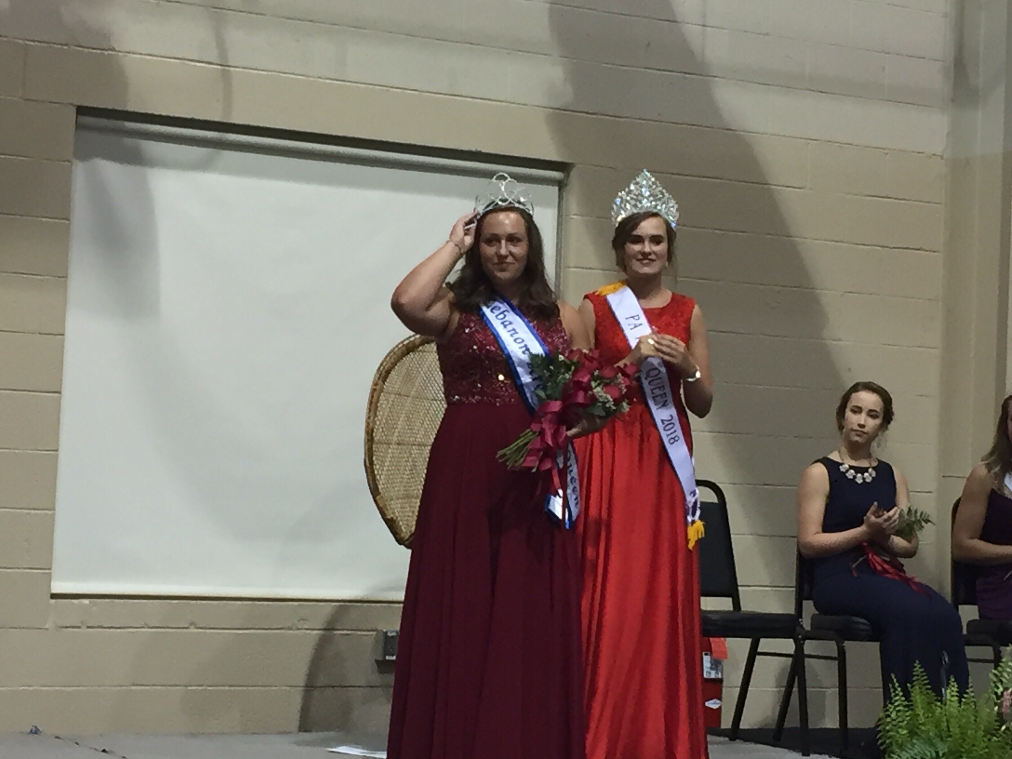 2018 Lebanon Fair Queen Madison Hetrick (left) after being crowned by 2017 winner Liz Voight.