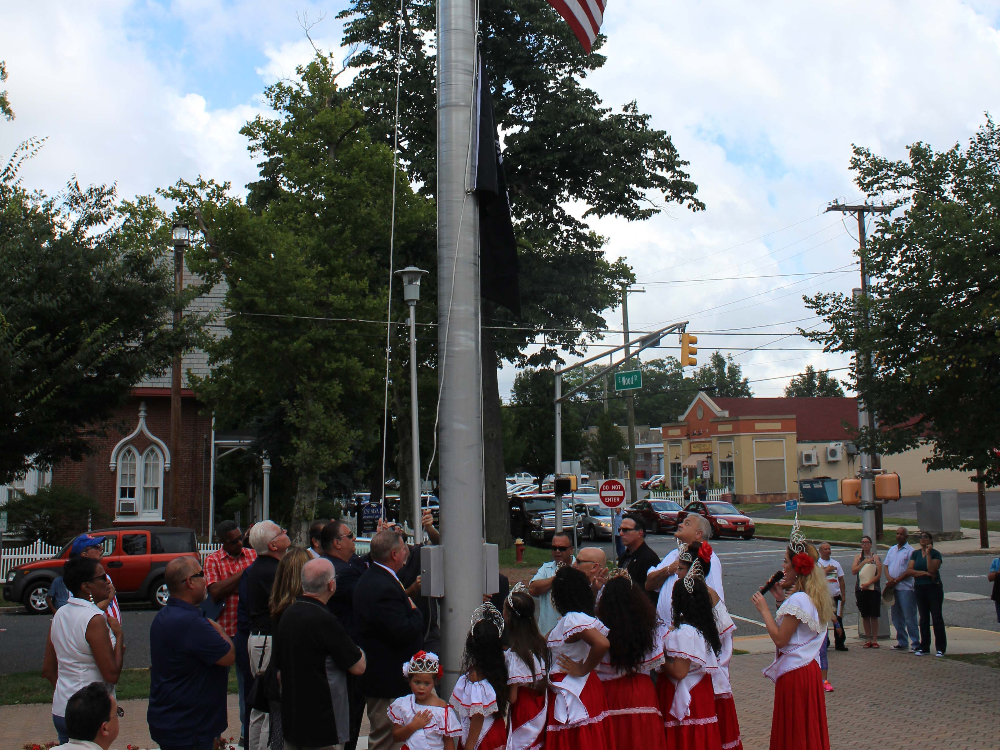 The American flag was raised to the national anthem during the start of the Puerto Rican Festival in Vineland on Sunday, July 22, 2018.