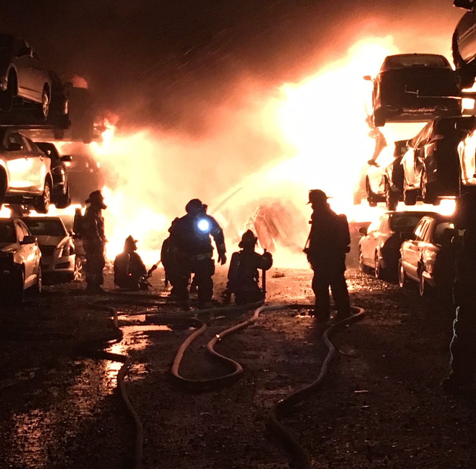 Fire strikes Newport-area auto salvage yard