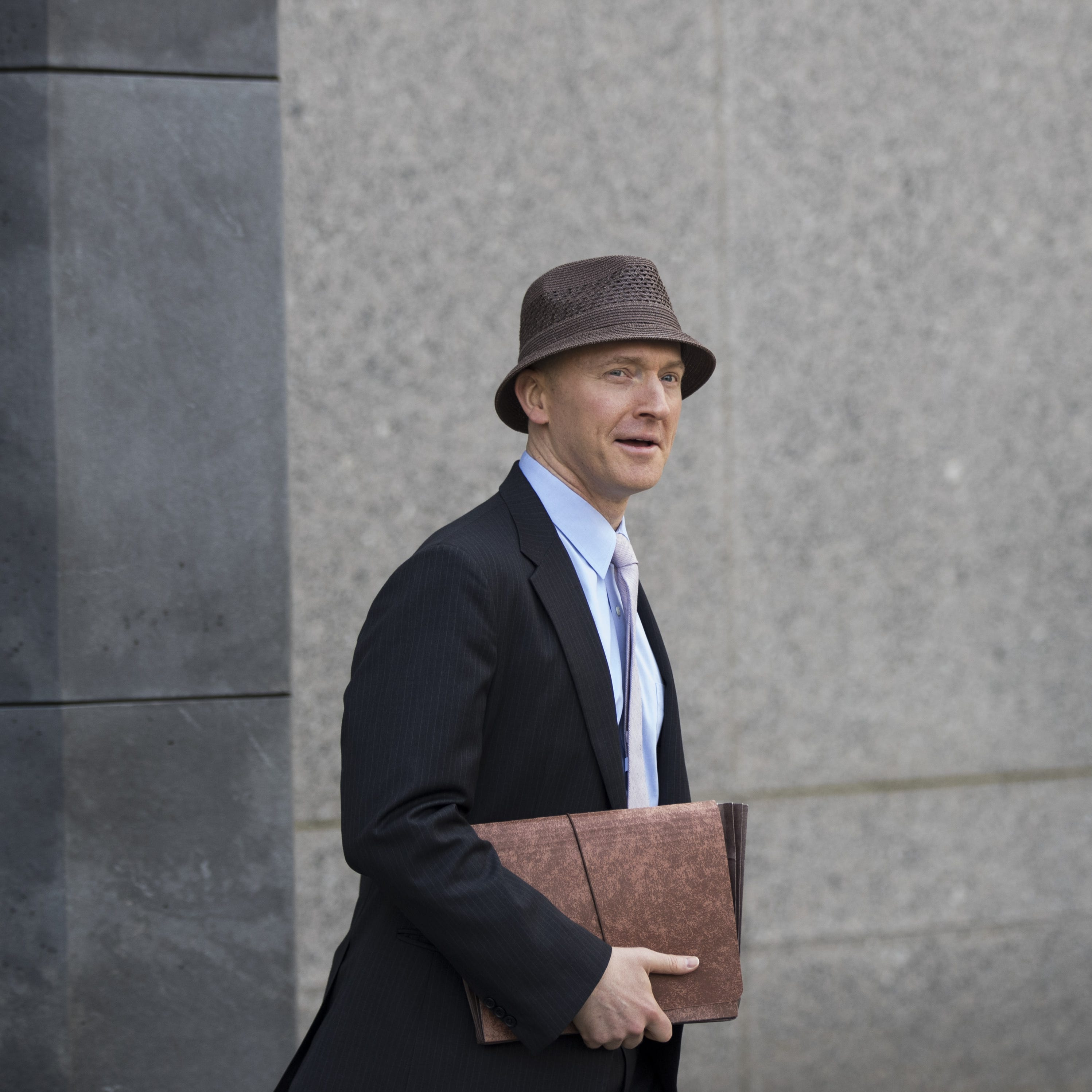 NEW YORK, NY - APRIL 16: Carter Page arrives at the courthouse on the same day as a hearing regarding Michael Cohen, longtime personal lawyer and confidante for President Donald Trump, at the United States District Court Southern District of New York, April 16, 2018 in New York City.  Cohen and lawyers representing President Trump are asking the court to block Justice Department officials from reading documents and materials related to Cohen's relationship with President Trump that they believe should be protected by attorney-client privilege. Officials with the FBI, armed with a search warrant, raided Cohen's office and two private residences last week.  (Photo by Drew Angerer/Getty Images) ORG XMIT: 775154122 ORIG FILE ID: 947159344
