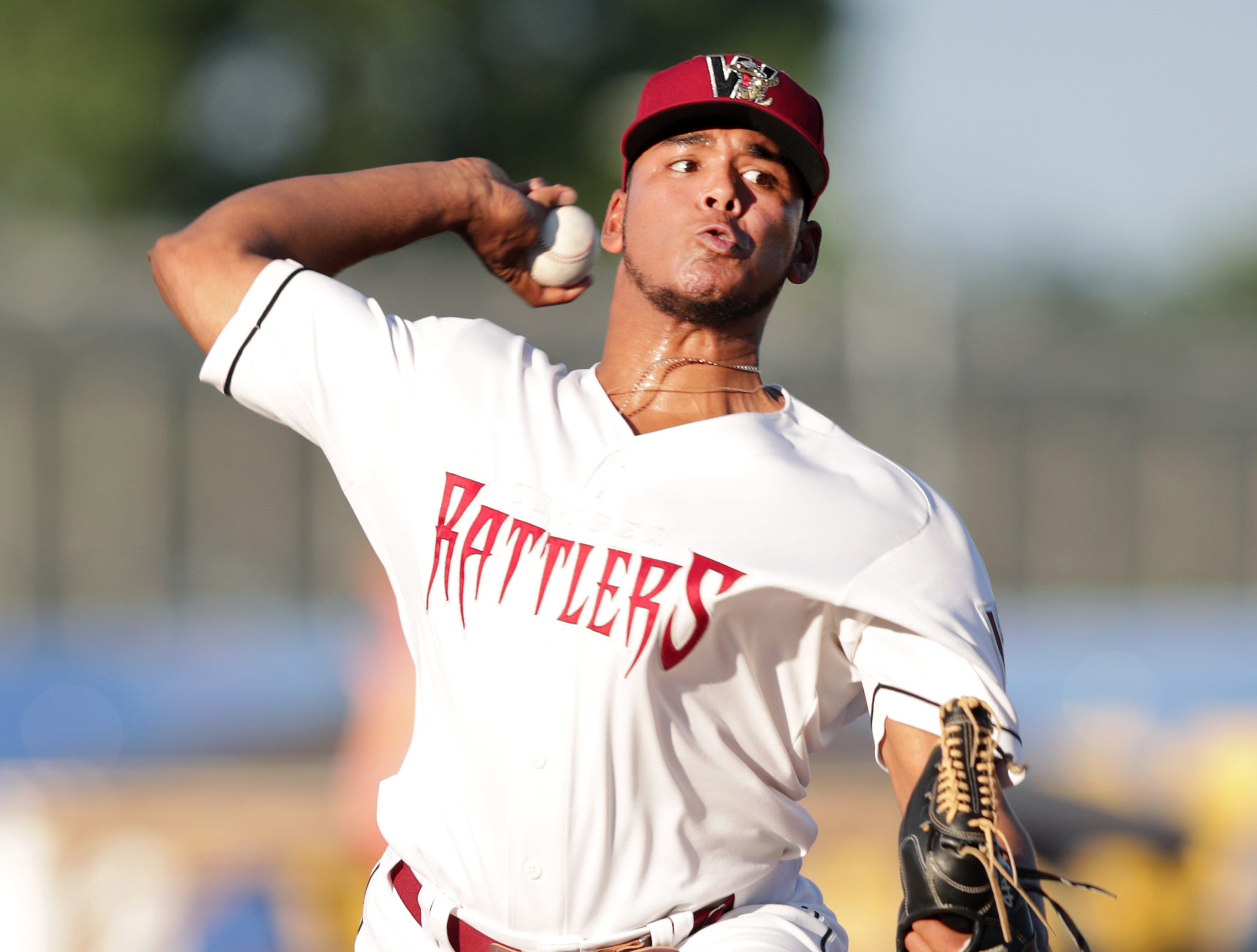 Milwaukee Brewers' pitcher Freddy Peralta, on temporary assignment during the All-Star break, starts for the Wisconsin Timber Rattlers as thet take on the Dayton Dragons during their baseball game at Neuroscience Group Field at Fox Cities Stadium on Wednesday, July 18, 2018 in Grand Chute, Wis.  Brewers' pitcher Matt Albers also pitched as part of a rehab assignment.