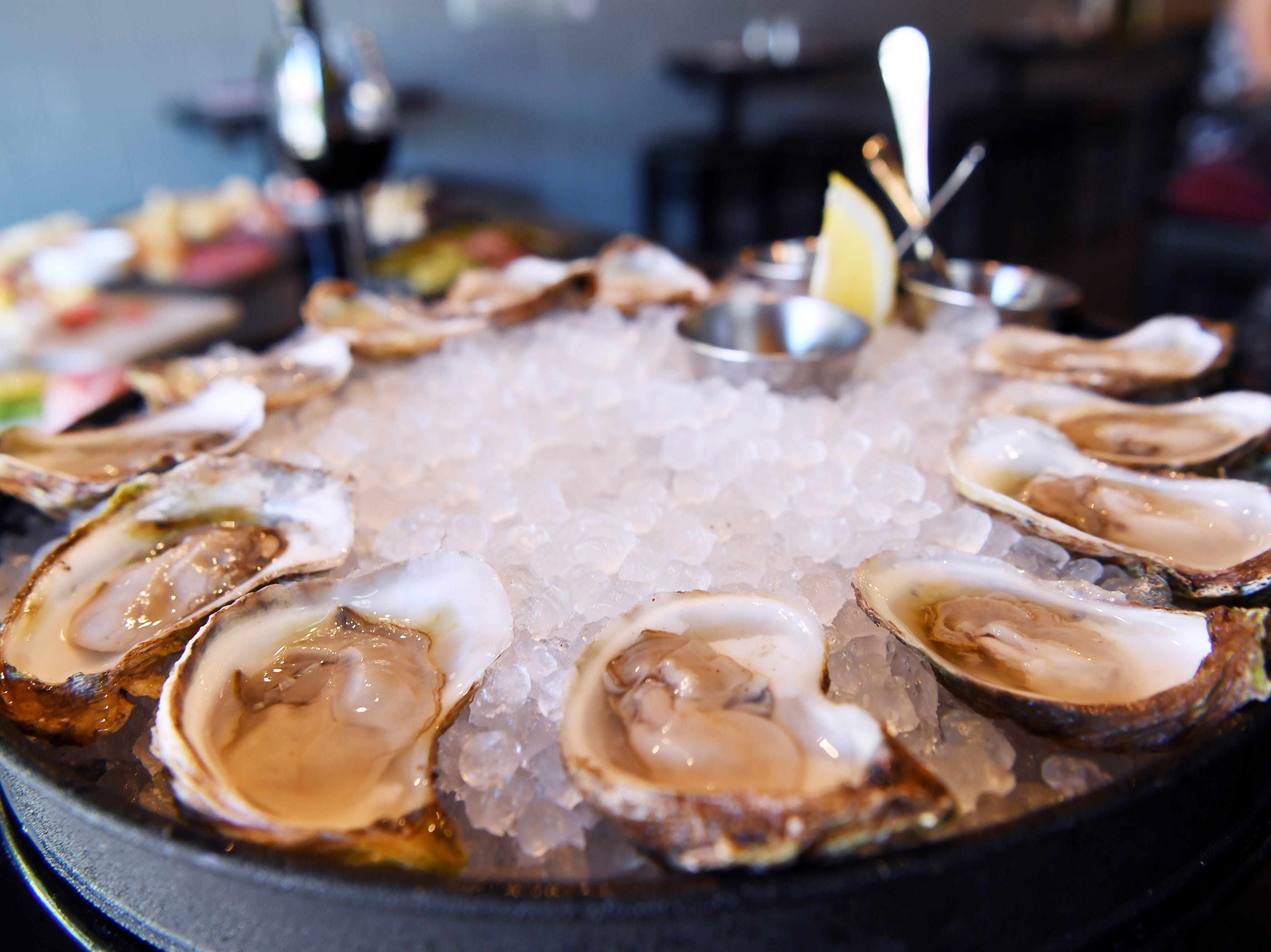 Oysters on the half shell at the Wine & Oyster at Biltmore Station in Asheville July 18, 2018.