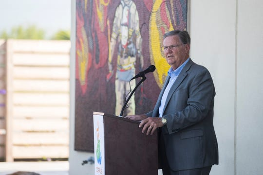 Mayor Joe McComb  speaks during the dedication ceremony for the mural 'Stay Together, Breathe' by Jerimiah Heye on  Monday, July 23, at Fire Station No. 18 in Corpus Christi.