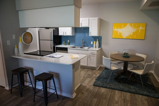 An updated kitchen at the San Marin apartments.