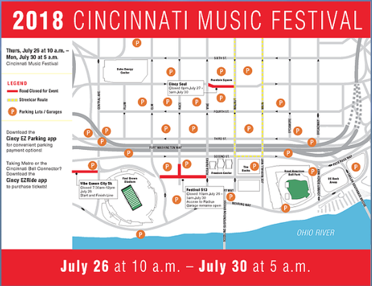 Cincinnati Music Festival 2018 parking instructions