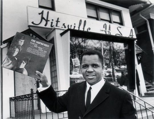 Berry Gordy Jr. poses outside of the Hitsville USA on West Grand Blvd in Detroit in 1964.