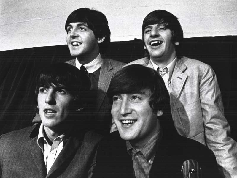 The Beatles came to Detroit to give two concerts at Olympia Stadium in 1964.  Clockwise from right foreground: John Lennon, George Harrison, Paul McCartney and Ringo Starr.