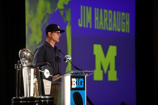 Michigan coach Jim Harbaugh speaks at the Big Ten media days in Chicago, Monday, July 23, 2018.
