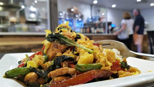 The wonderful fragrance and flavor of the Thai Basil Chicken at Pangea Kitchen comes in large part from Beautiful Edibles' Thai basil.