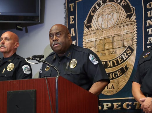 Fort Myers Police Chief Derrick Diggs names Wisner Desmaret as the suspect in the shooting of Fort Myers Police Officer Adam Jobbers-Miller.