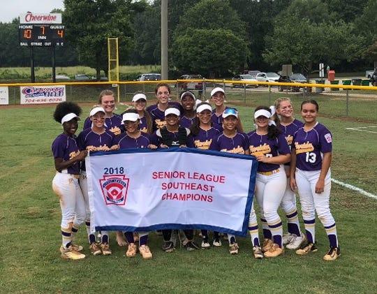 The District 9 Senior Little League softball team, the Florida champions, won the Southeast Region championship Monday in North Carolina.
