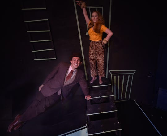 """Brade Bradshaw of Chicago stars as """"Archy'' and Samantha Sostarich of Milwaukee as """"Mehitabel'' in the musical comedy """"Shinbone Alley'' opening Thursday at the Third Avenue Playhouse in Sturgeon Bay. The play is based on the """"Archy'' and """"Mehitabel'' stories written by humorist Don Marquis."""