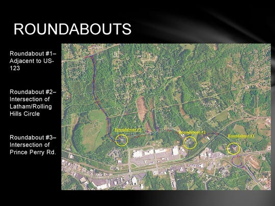 Map showing roundabouts to be built along the route of the State 153 extension from U.S. 123 to Saluda Dam Road.