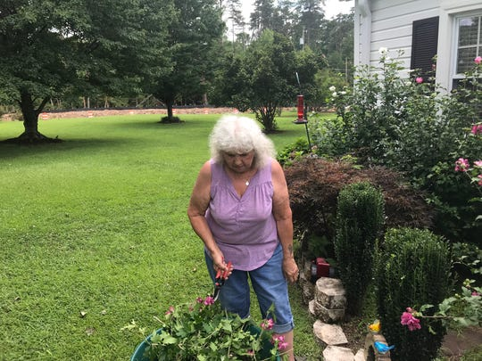 Virginia Phillips tends her flower garden at her home along Rolling Hills Circle. The State 153 extension, in the background, borders her property.
