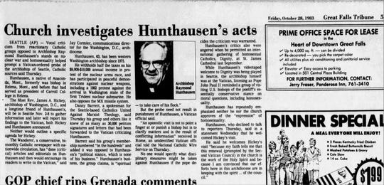 The Vatican ordered an investigation of Archbishop Raymond Hunthausen in 1983. He died in Helena Sunday at 96.