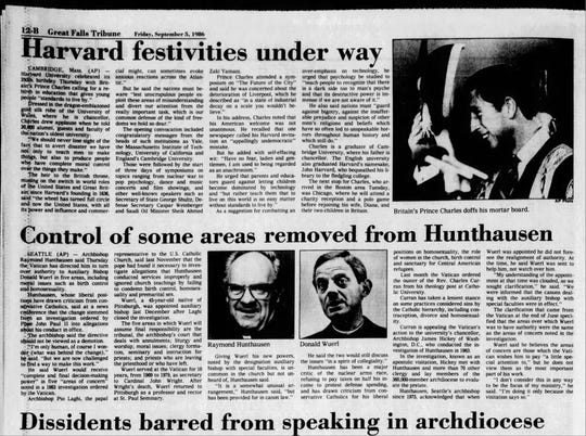 The Vatican ordered former Seattle Archbishop Raymond Hunthausen to temporarily share power with another bishop in 1986. Hunthausen died in Helena Sunday at 96.