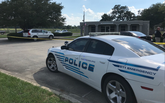 Hattiesburg police respond to a robbery Monday, July 23, 2018, at Great Southern Bank on Old Highway 42