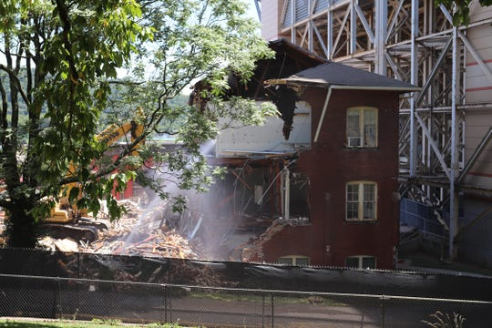 The demo on Estabrook Hall on the University of Tennessee campus began Monday, July 16, and finished on Wednesday, July 18, 2018.  The building was built in 1898 and will be replaced by a new $129 million, 228,000-square-foot engineering building.