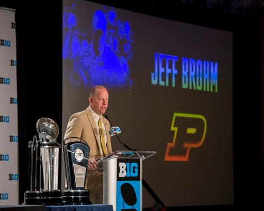 Purdue head coach Jeff Brohm addresses the media during the Big Ten football media day at Chicago Marriott Downtown Magnificent Mile on July 23, 2018.