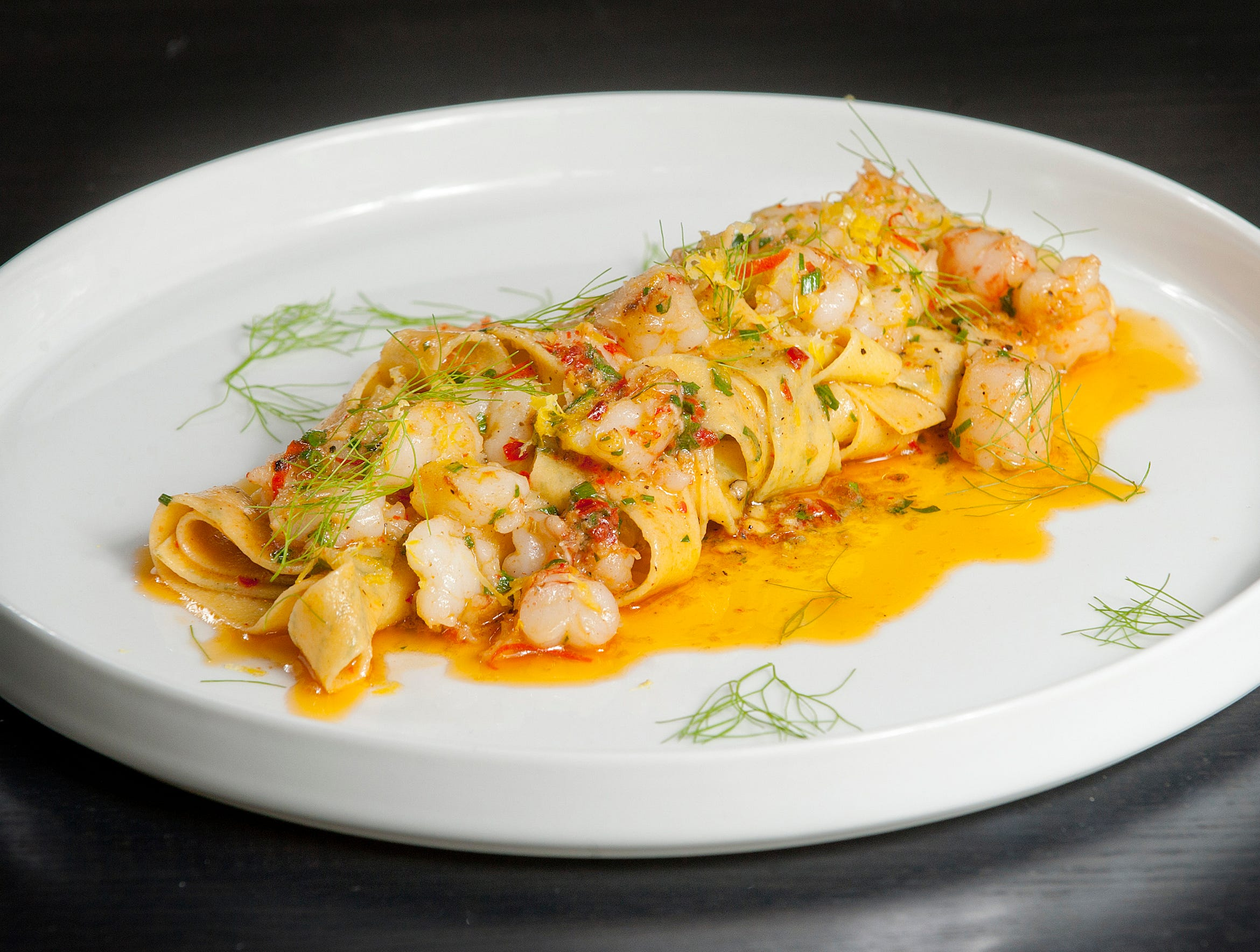 bar Vetti's Dill Taglierini is a made with taglierni (ribbon pasta), fresh dill, rock shrimp with garlic and olive oil, fennel, rosa marina and fermented chilies. July 10, 2018