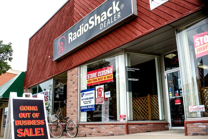 The front of Clinton Electronics, photographed on Friday, July 20, 2018, in downtown St. Johns. The business, a RadioShack dealership, is closing its doors after 37 years at the end of August.