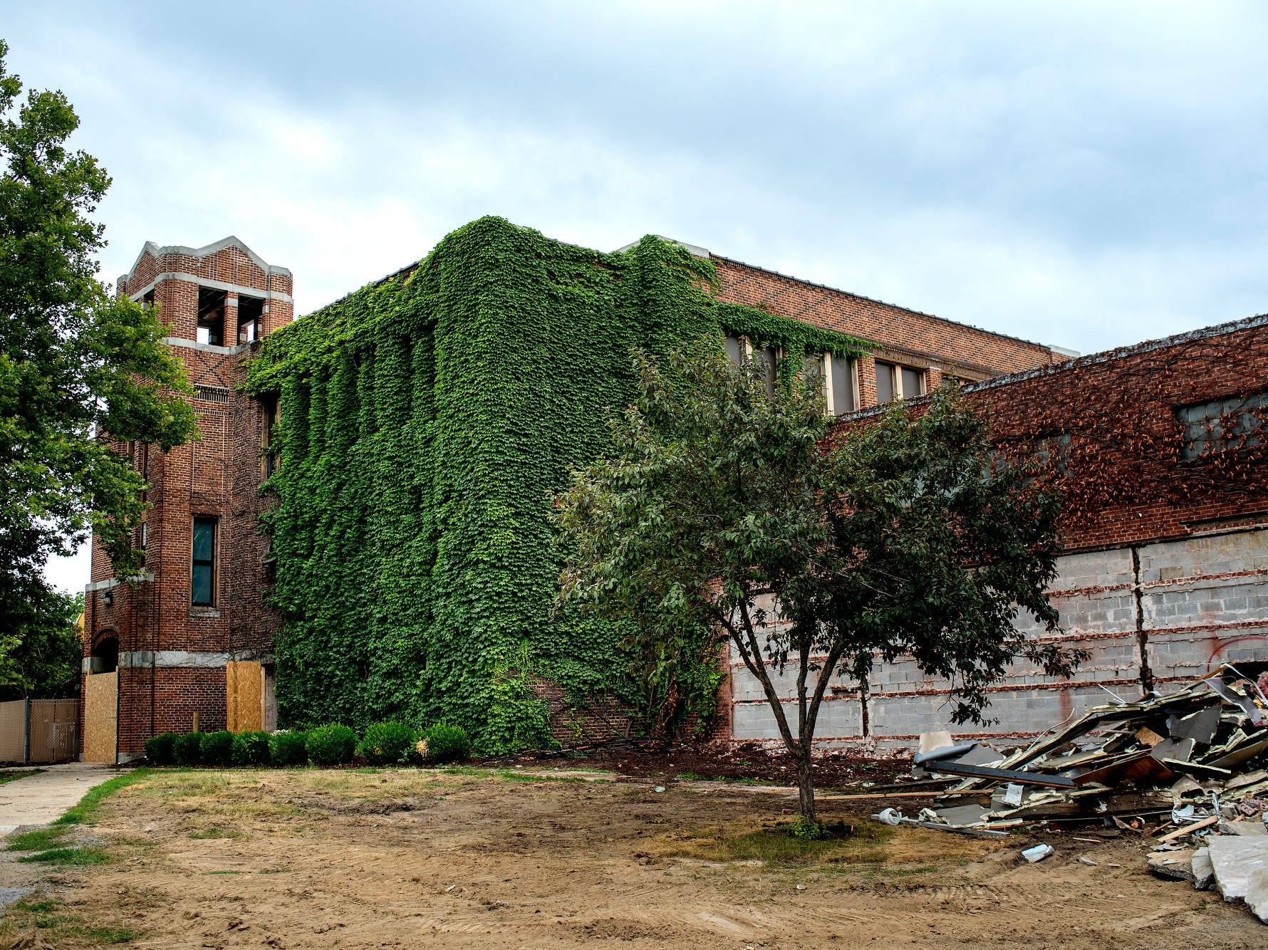 The former Dansville Middle School, photographed on Monday, July 23, 2018, is being demolished in Dansville. The building is being razed as part of the district's 2016 millage, which is funding the demolition as well as the construction of a new high school.