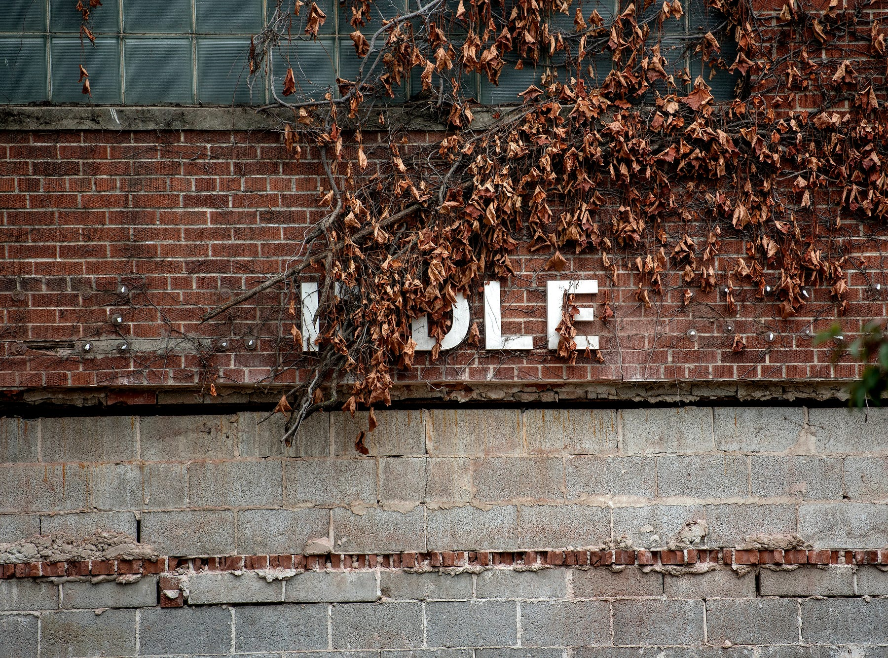 A few letters of the word 'middle' remain on the facade of the old Dansville Middle School during the school's demolition on Monday, July 23, 2018, in Dansville. The building is being razed as a result of the district's 2016 millage, which is funding the demolition as well as the construction of a new high school.