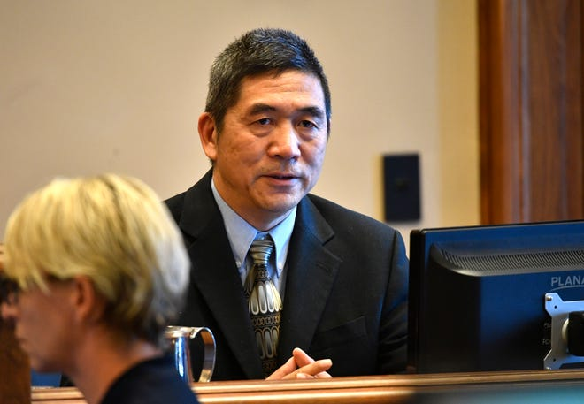 Witness for the state Dr. Feng Li, chief medical examiner for Nashville, testifies in a lawsuit brought on by death row inmates contesting Tennessee's lethal injection cocktail.