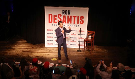 Donald Trump Jr. speaks at a rally for Florida gubernatorial candidate U.S. Rep. Ron DeSantis, Wednesday, July 18, 2018, in Orlando, Fla. (Red Huber/Orlando Sentinel via AP)