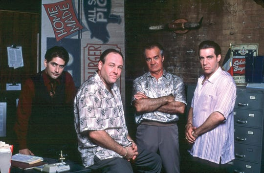 """""""The Sopranos"""" stars the late James Gandolfini (second from left), who grew up in Park Ridge. The show also features other cast members with ties to Bergen County."""