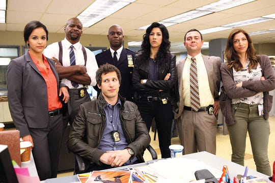 """Lyndhurst native Melissa Fumero (far left) stars in the cop comedy """"Brooklyn Nine-Nine."""" The show was recently canceled by FOX and picked up by NBC."""