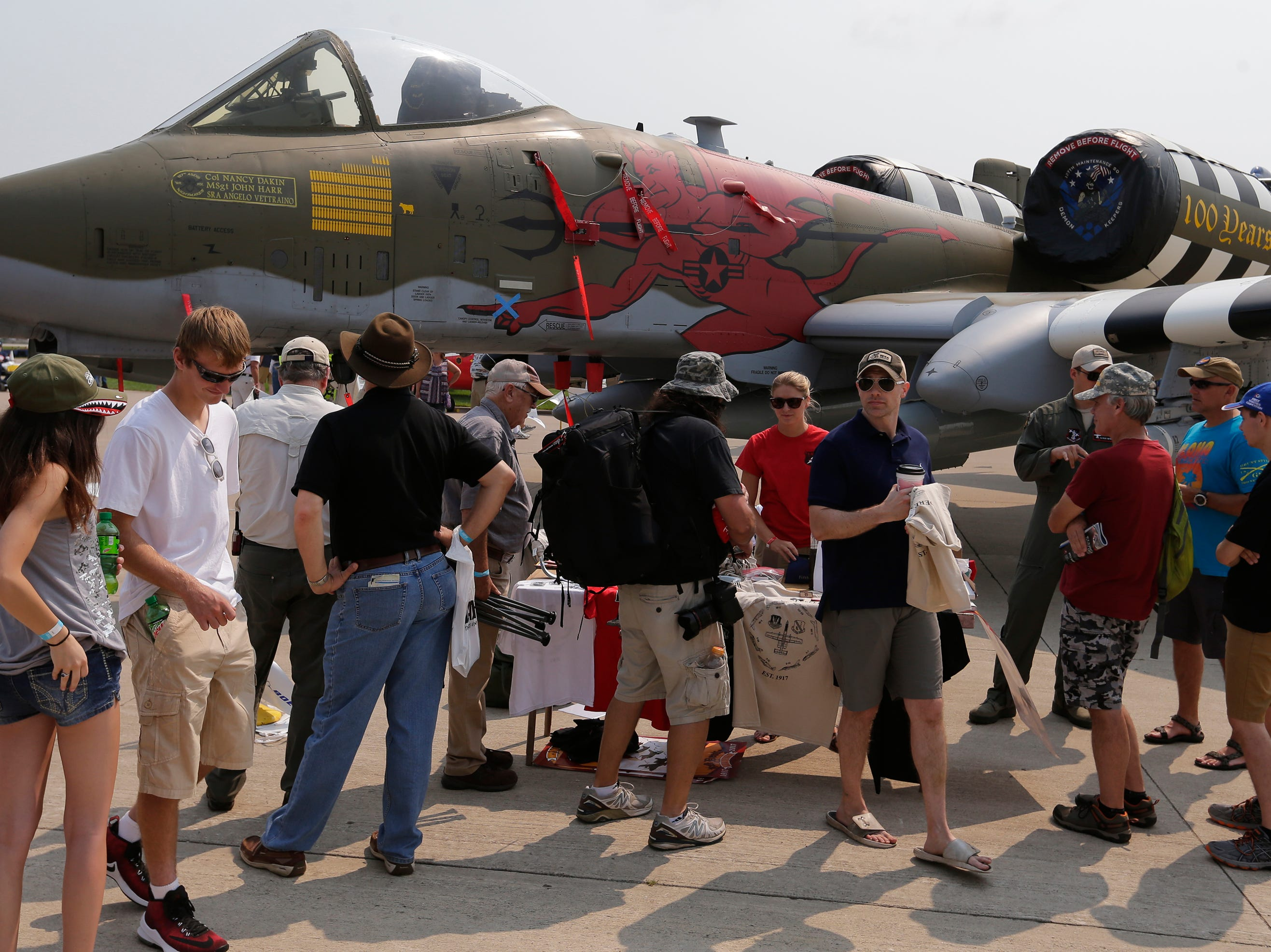 The Michigan A10 was a popular stop for visitors on Boeing Plaza.  The first day of AirVenture 2018 opened on July 21, 2018.  Thousands of people will pass through the gates of AirVenture.