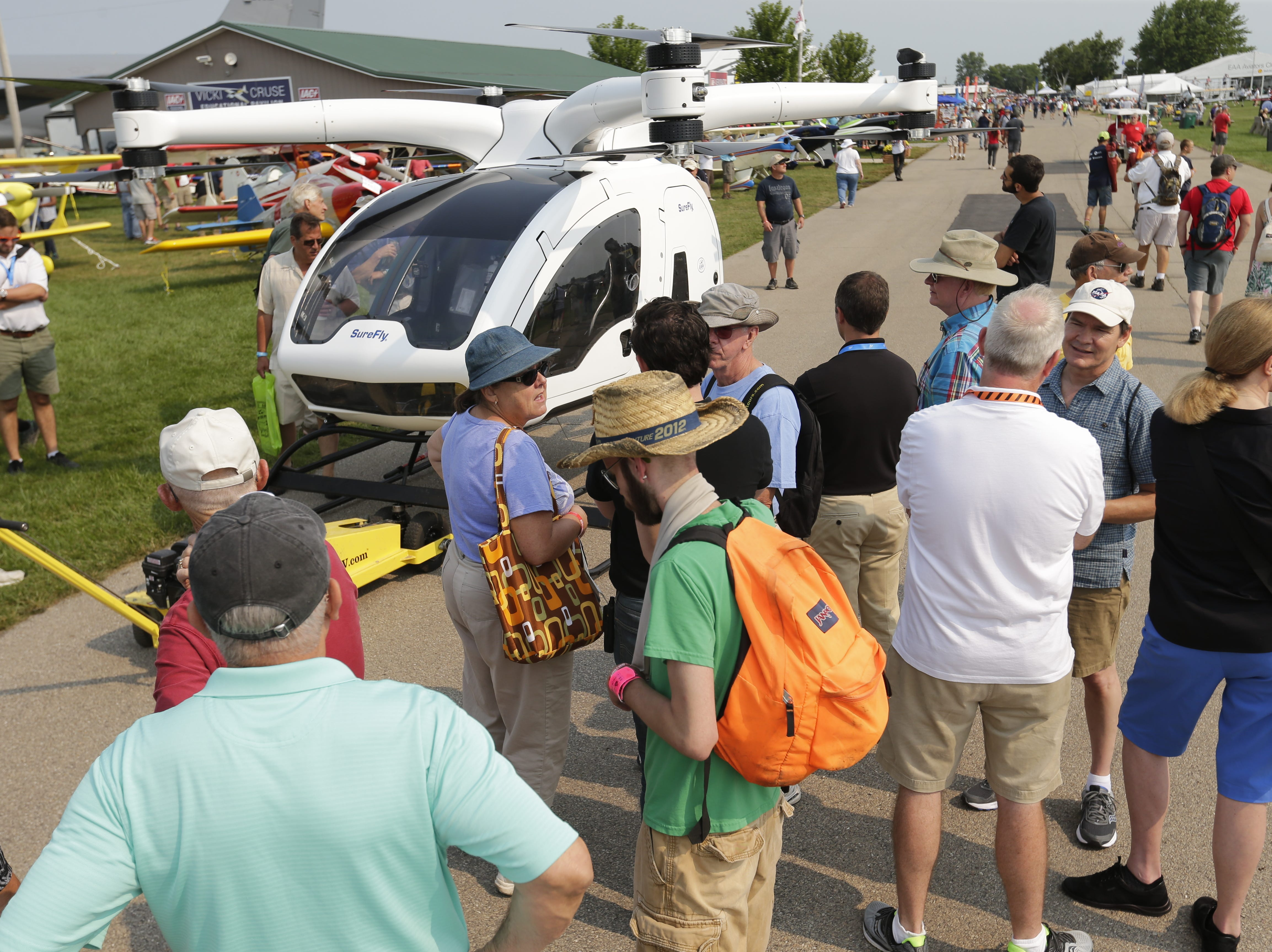 The SureFly manned drone vehicle drew attention with spectators at AirVenture.  The first day of AirVenture 2018 opened on July 23, 2018.  Thousands of people will pass through the gates of AirVenture. Joe Sienkiewicz/USA Today NETWORK-Wisconsin
