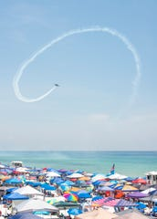 Tens of thousands of people pack Pensacola Beach for the 2018 Blue Angels Air Show.