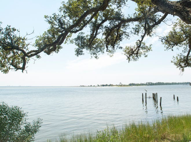 A look at Pensacola Bay toward White Island and Pensacola Naval Air Station's Magazine Point.