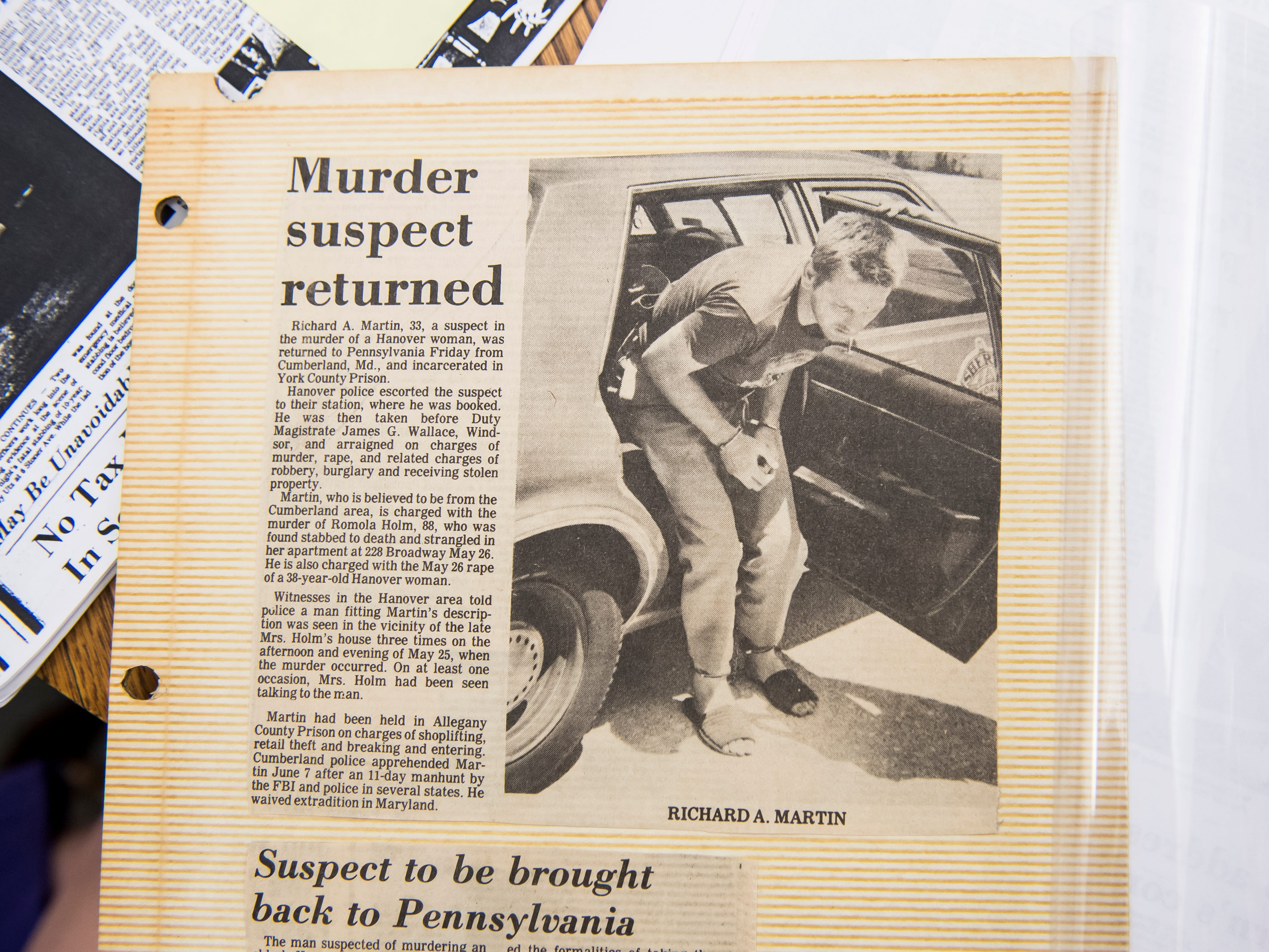 Newspaper clippings from 1984, when Richard Martin was arrested in Maryland and extradited to Pennsylvania on charges of murder, rape, and related charges of robbery, burglary and receiving stolen property.