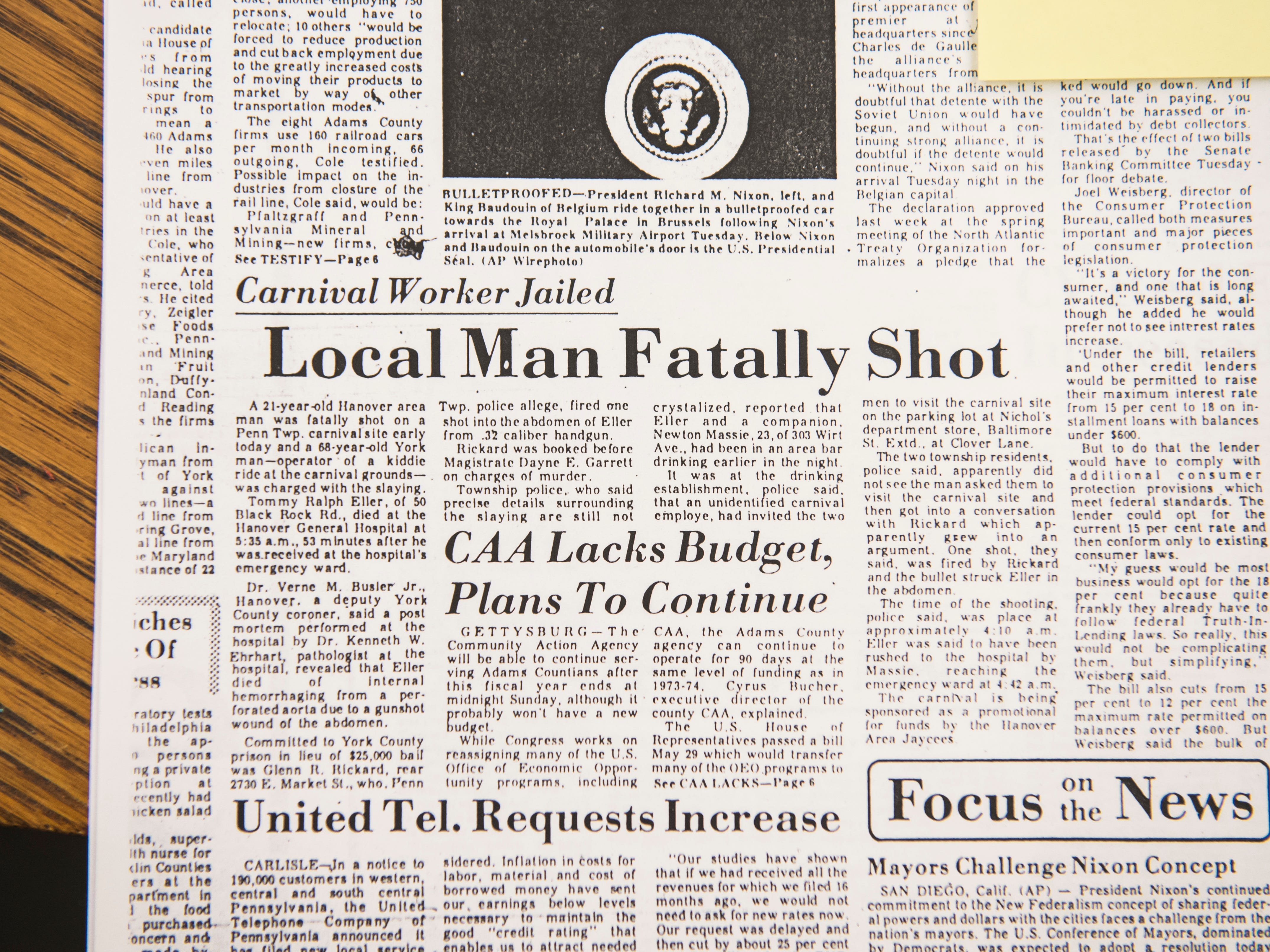 A newspaper article from 1974 details the death of Tommy Eller, 21, who was fatally shot on the site of a Penn Township carnival grounds by a 68-year-old York man.