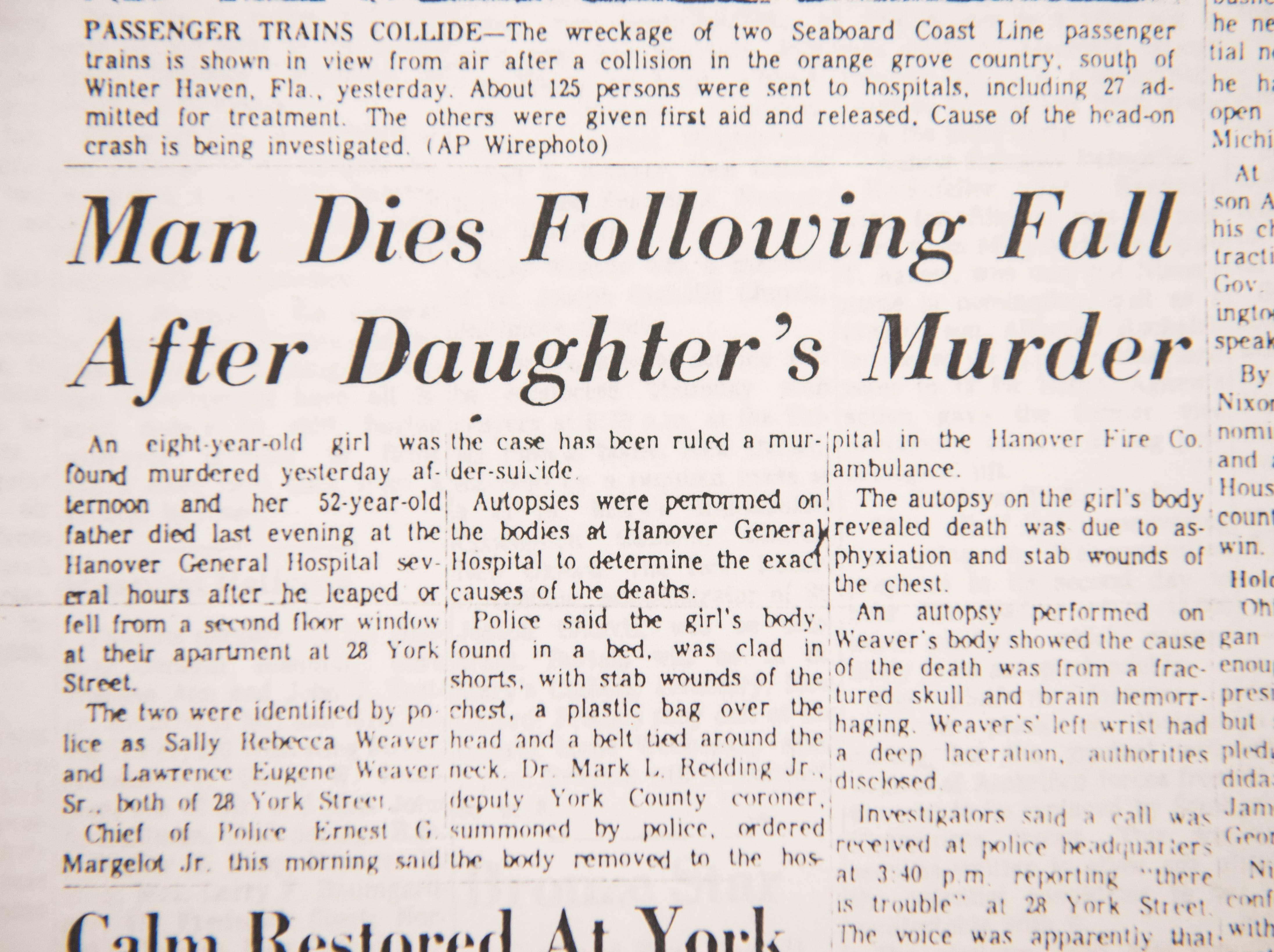 A newspaper clipping from 1968 talks about the death of Sally Weaver.
