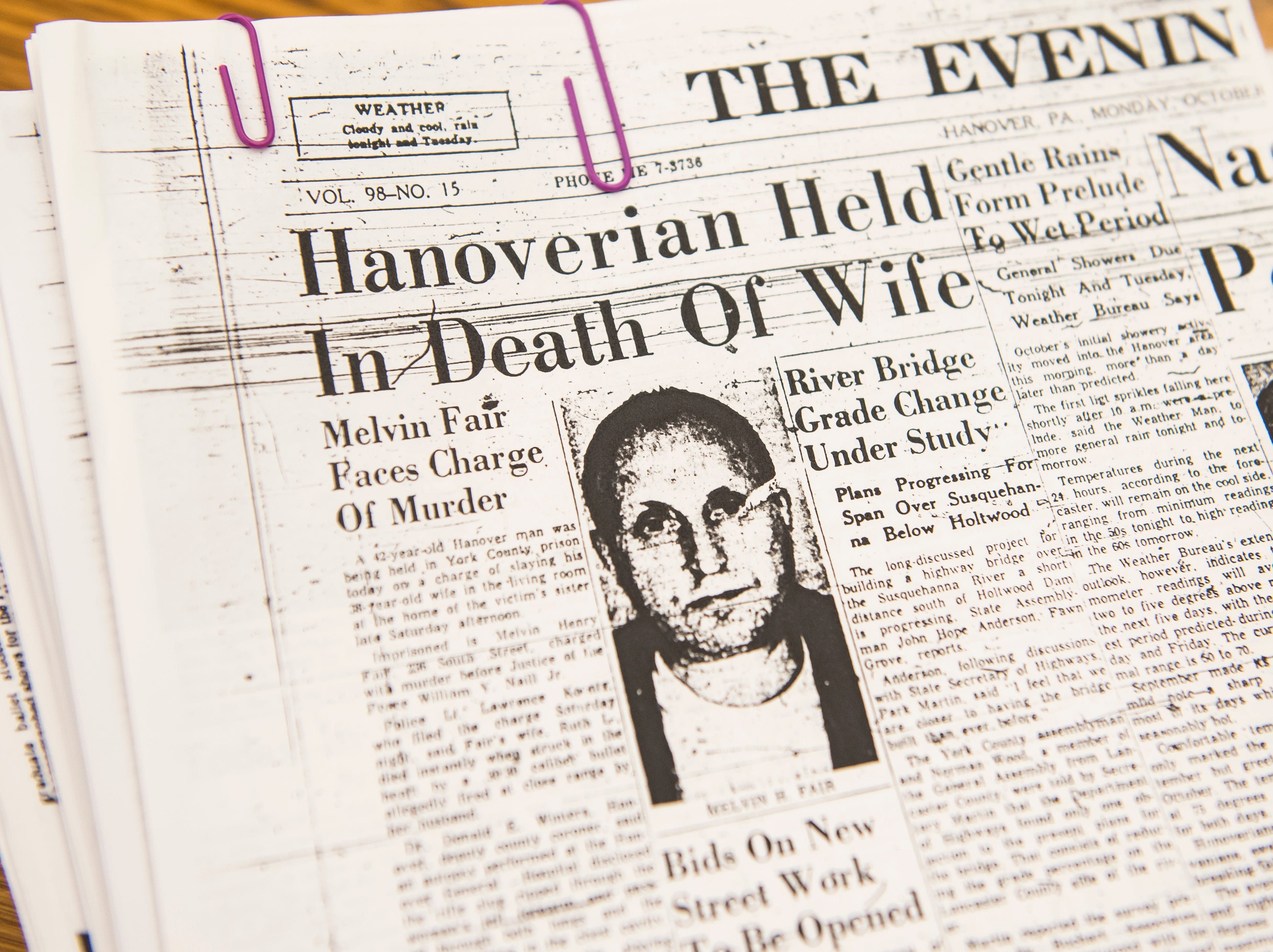 A newspaper clipping from 1961 details the case of Melvin Fair, a 42-year-old Hanover man who was found guilty of second-degree murder of his wife, Ruth Fair.